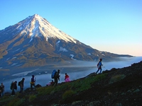 Ascending Avacha volcano